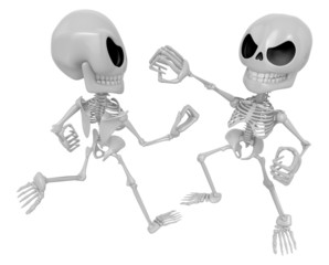 3D Two Skeleton Mascot is a fist fighting. 3D Skull Character De