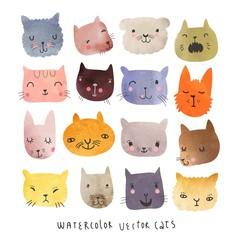 Cute cats watercolor vector