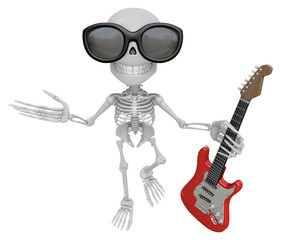 3D Skeleton Mascot is holding electric guitar. 3D Skull Characte