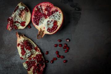 Pomegranates fruit  Black Metal Background