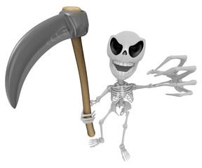 3D Reaper Skeleton Mascot a very sharp scythe brandishing. 3D Sk