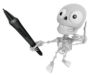 3D Skeleton Mascot the left hand telephone gesture and right han