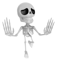 3D Skeleton Mascot is No gestures of both hands. 3D Skull Charac