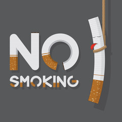 World No Tobacco Day. No smoking sign and hanging cigarette