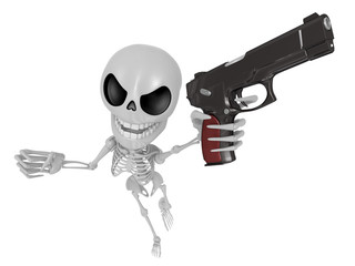 3D Skeleton Mascot is the strike with one's fist. 3D Skull Chara