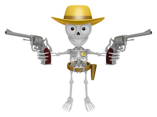3D Skeleton Mascot is cowboys holding a revolver gun with both h