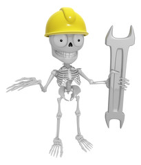 3D Skeleton Mascot is holding electric wrench. 3D Skull Characte