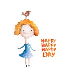Girl  in blue dress with red hair with bird. Vector