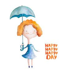 Girl  in blue dress with umbrella. Vector