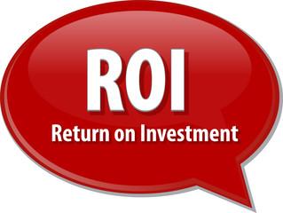 ROI acronym word speech bubble illustration
