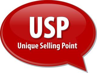 USP acronym word speech bubble illustration