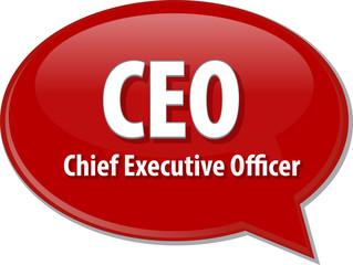 CEO acronym word speech bubble illustration
