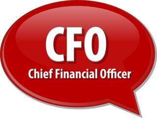 CFO acronym word speech bubble illustration