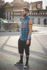 young handsome bearded hipster man