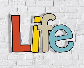 Life Brick wall Single Word Text Background Clean Concept