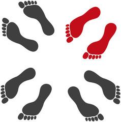 Traces de pied silhouette 10