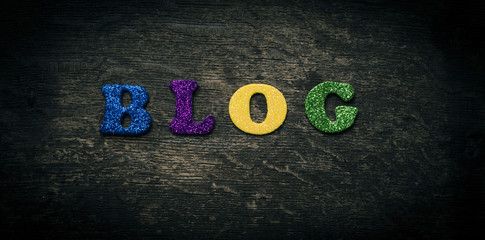 Text with the word blog