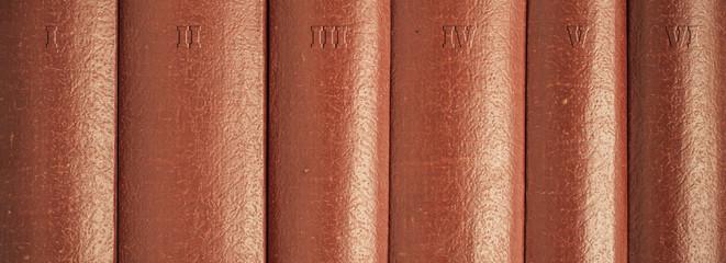 Close up of books on bookshelf