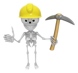 3D Skeleton Mascot is holding electric pickax. 3D Skull Characte