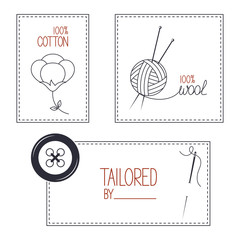 Set of emblems for cotton, wool and tailor products