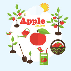 Vector garden illustration in flat style. Planting apple trees,