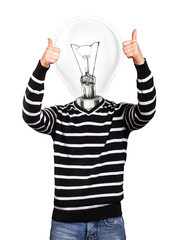 Lamp Head Man In Striped Pullover