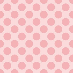 Tile vector pastel pattern with polka dots on pink background
