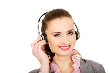Happy smiling support phone operator.