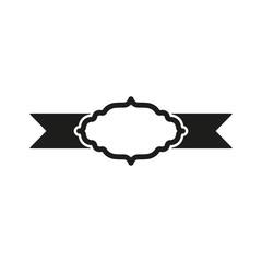 The label icon. Ribbon symbol. Flat