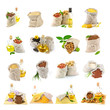 Set of sunflower seed, nuts, sesame, rise, corn, maize, almond,