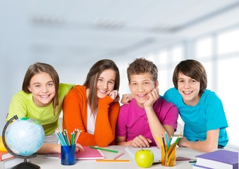 Classroom. Portrait of smiling friends enjoying their day at
