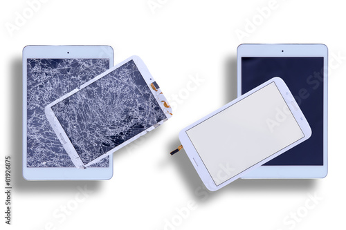 canvas print picture Shattered and repaired tablet screens