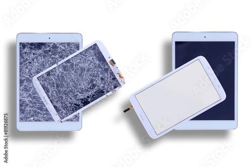 Leinwanddruck Bild Shattered and repaired tablet screens