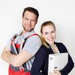 Leinwanddruck Bild - Apprentices for car mechanic and office