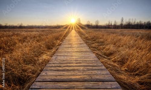 Fotobehang Zonsondergang Prairie Boardwalk Sunset