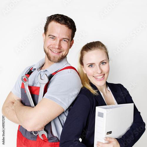 Leinwanddruck Bild Apprentices for car mechanic and office