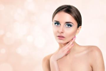Beautiful Spa Woman Touching her Face. Perfect  Skin closeup
