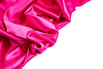Pink silk drape.