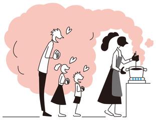 料理を待つ父と子供