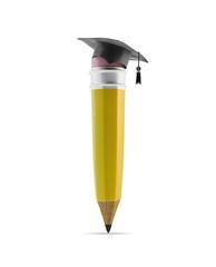 Pencil with a graduation cap