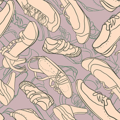 Seamless pattern with shoes