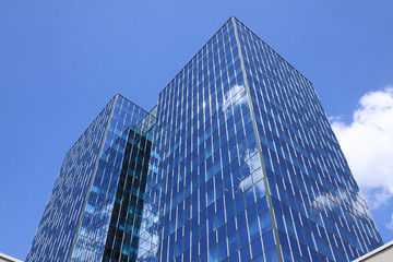 Detail of the modern Building on the blue Sky