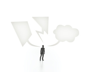 Man with three different speech bubbles
