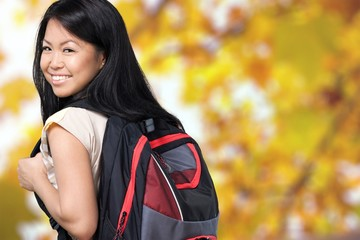College Student. Beautiful Asian Student