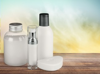 Cosmetics. White cosmetic containers