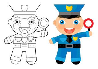 Cartoon character - policeman - coloring page