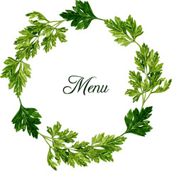 frame with leaves of parsley