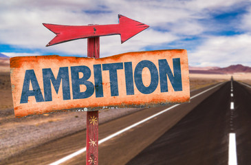 Ambition sign with road background