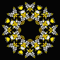 Floral round ornament. Vector art