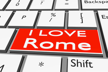 Computer keyboard with font I LOVE Rome